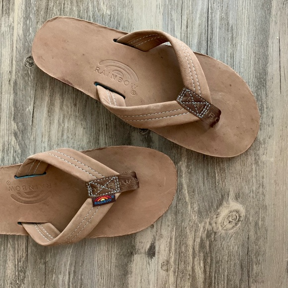 e8252182a2f3 Rainbow Premier Leather Sandal Brown   Blue Small